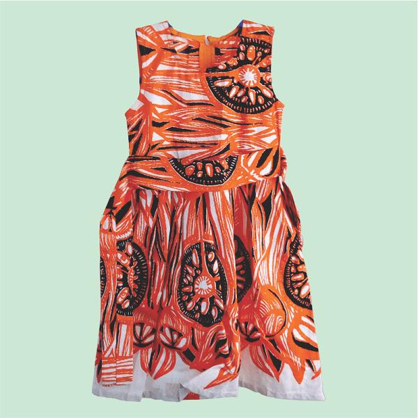 Zucchini_Afrik_Gathered_Dress_Orange