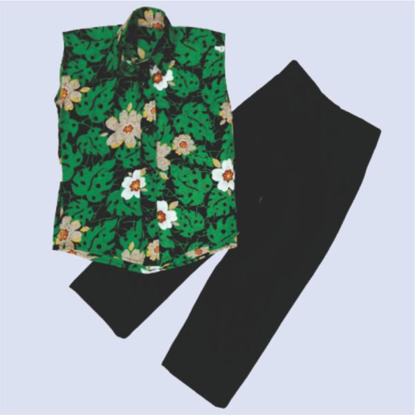 Green Flowery Shirt_Black Pant